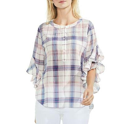 5b20efb9ffce5 Vince Camuto Womens Pink Flutter Sleeves Plaid Henley Blouse Top S BHFO 2680