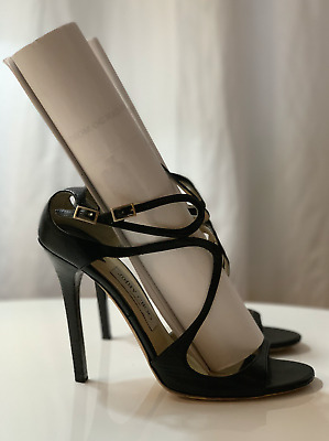f178266b3a41  795 Jimmy Choo IVETTE Black Patent Leather Strappy Sandals size 39