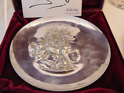 1971 Lincoln Mint Salvador Dali Sterling Silver Unicorn Dyonisiaque Plate 7.6 Oz