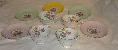Colclough 5 Saucers 4 Cup Fine Bone China Longton England Demitasse Floral Motif