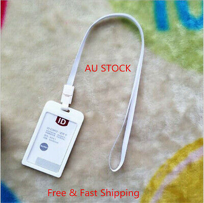 2x Card Vertical Holders Plastic Business ID Badge With Neck Strap Lanyard White