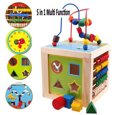 5 in 1 Wooden Multi-Activity Cube Kids Educational Toy Learning Games Baby Gift
