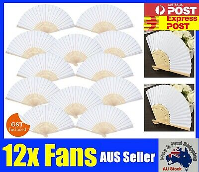 NEW 12 Pcs White Folding Bamboo Paper Hand Fan Fans DIY Wedding Gifts Favours