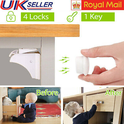 4PCS Baby Magnetic Cabinet Drawer Cupboard Locks for Kids Child Safety Proofing
