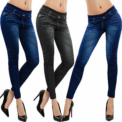 Leggings donna effetto jeans pantaloni aderenti skinny fuseaux TOOCOOL F518