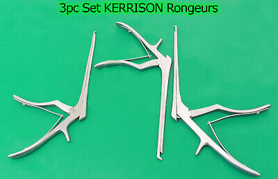 "3 Pcs Set KERRISON Rongeurs 7"",1mm, 2mm, 3mm Up 45 Degree Surgical Instruments"
