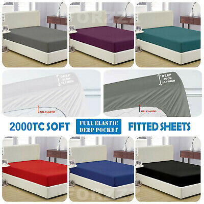 Hot Soft 1000TC Fitted Sheet Super King/King/Queen/Double/K Single/Single Bed