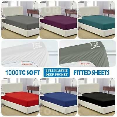 Ultra Soft 1000TC Fitted Sheet SuperKing/King/Queen/Double/KingSingle/Single Bed