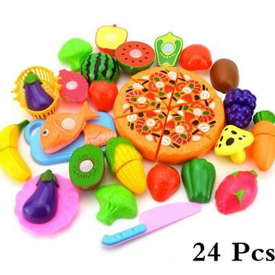 24pcs Kids Kitchen Fruit Vegetable Pizza Food Pretend Role Play Cutting Set Toy