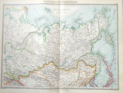 Map of Asiatic Russia & Trans Siberian Railway. 1905. MONGOLIA. SIBERIA.