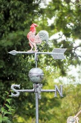 Cast Iron Cockerel Weathervane Traditional Style Rooster Wind Weather Vane Gift