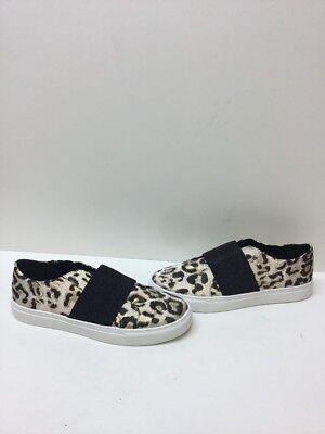 e7e60bacf76 ALDO Beige Black Leopard Print Canvas Slip On Fashion Sneakers Women s Size  10