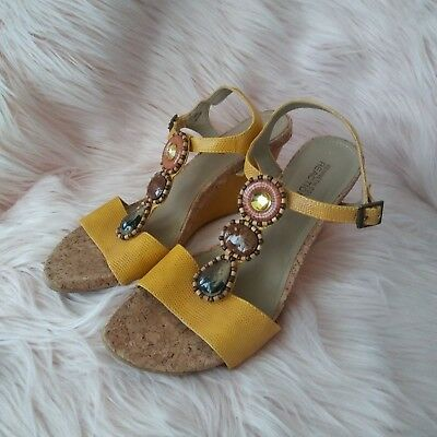 f9aa3de7a2d Kenneth Cole Reaction Ladies Size 9.5 Yellow Beaded Cork Wedge Sandals