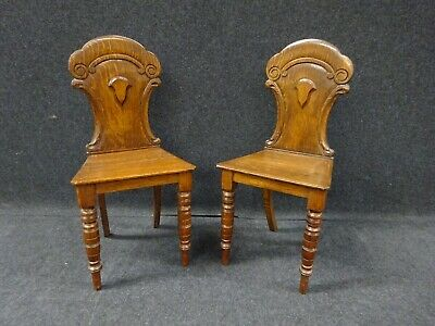 Pair Of Victorian Oak Hall Chairs Display Chairs Antique Chairs