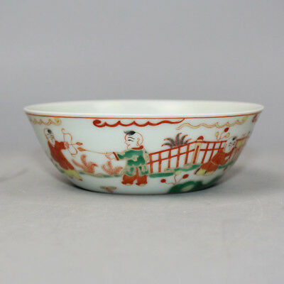 Chinese Old Marked Green & Red Glaze Gilt Kids Story Pattern Porcelain Thin Bowl