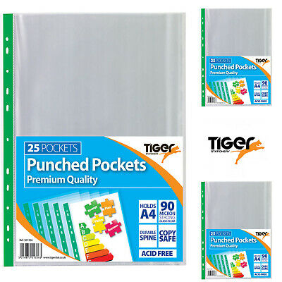 Tiger 25 x A4 Clear Extra Capacity Durable Spine Single Large Punched Pockets