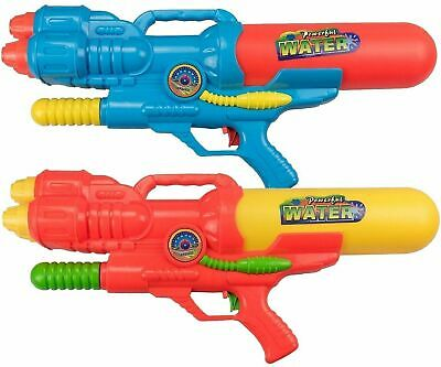"2 x LARGE 16"" Pump Action Water Guns 40cm Pistols Cannon Fight Soaker Toys 797"