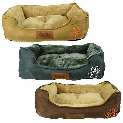 Luxury Crufts Faux Suede Fur Medium Pet Bed Dog Cat Puppy Kitten Comfy Cushion