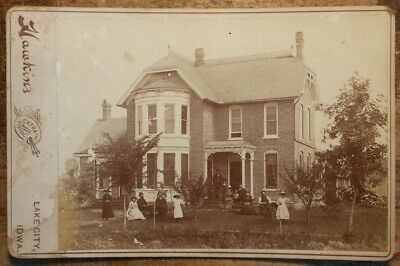c1890 Vintage Cabinet Photo Home of Peter Smith by Hawkins Lake City, Iowa IA