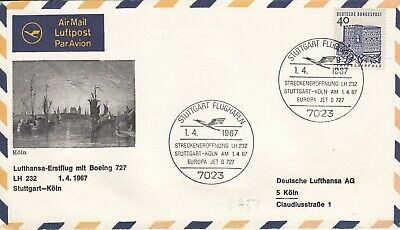 1967 Lufthansa First Flight Boeing 727 LH 232 Stuttgart - Koln First Flight Cove