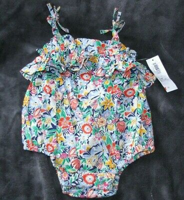 5f2f07a65d8bd Old Navy Baby Girl Ruffle Strappy Bow Bubble Romper Floral 0-3 New Nwt