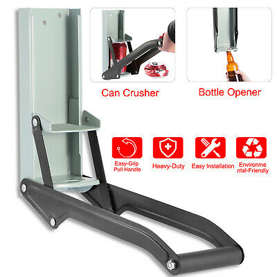 16oz Can Crusher Metal Smasher w/ Bottle Opener Wall Mounted Beer Recycling Tool