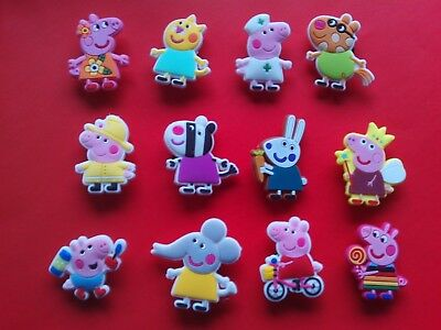 12 New Peppa Pig jibbitz crocs shoe charms hair loom wrist band cake toppers