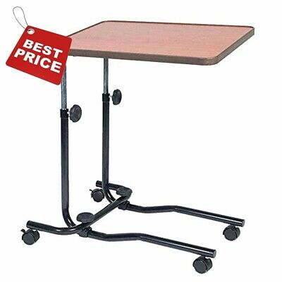 Adjustable Wheeled Overbed Tray Table Tilt Medical Hospital Bed Laptop Bedside