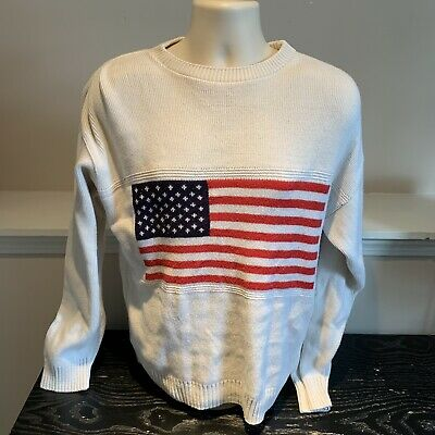 USA American Flag United States Heavy Cotton Sweater Stars and Stripes Small