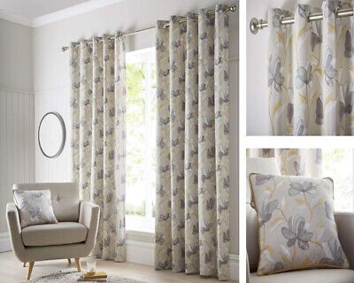 Springfield Ochre Curtains Eyelet Ring Floral Vine Beige Yellow Cushion Cover