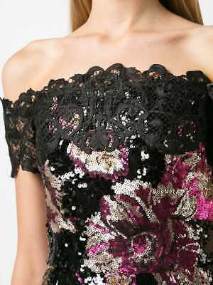 b961187938 $795 NEW Marchesa Notte Off the Shoulder Sequined Peony Midi Dress Black  Pink 8
