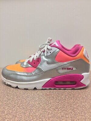 the best attitude f5dc7 e5bbe NIKE AIR MAX 90 PREM LTR (GS)YOUTH Size5.5Y Silver PINK ORANGE