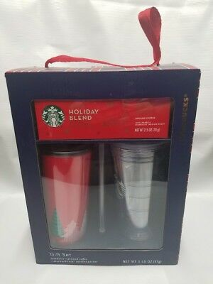 Starbucks 2017 Holiday Gift Set Bundle Hot Cold Tumblers Cups Ground Coffee NEW