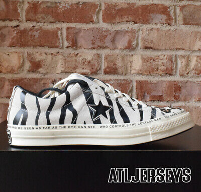 newest 03d28 cb313 163167C Converse One Star OX x Brain Dead Zebra Leopard Egret Black White  Size
