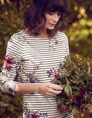 Joules Womens Harbour Printed Jersey Top Shirt in HARVEST FLORAL PLUM STRIPE