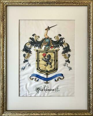 Antique Buchanan Crest Coat of Arms 18th - 19th Century Paitned on Vellum