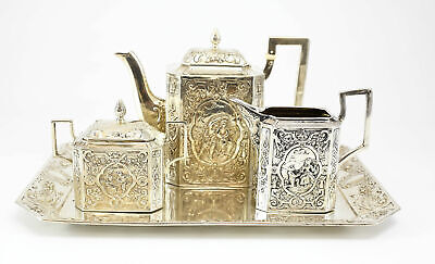 German Hand Chaised Angkor .900 Silver Tea Service Set, 19th Century 31 ozt