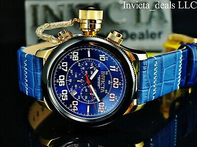 Invicta 54mm Russian Diver Lefty Chronograph Blue Dial Gold Tone Leather Watch
