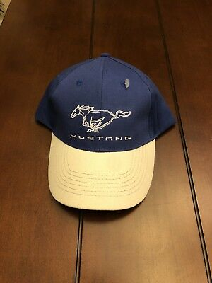 Official Licensed Genuine Ford Mustang Blue   Tan Baseball Cap Hat  Adjustable 9b21db6d9be5