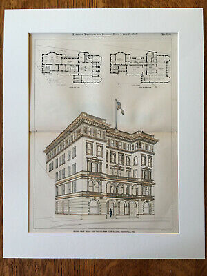 Columbia Club Building, Indianapolis, IN, 1898, W Swasey, Original Hand Colored