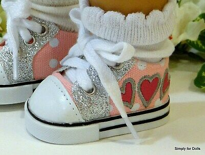 """PINK Hearts w/ SILVER Sparkle DOLL SHOES SNEAKERS fits 18"""" AMERICAN GIRL DOLL"""