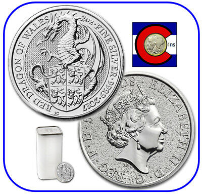 2017 Queen's Beast Red Dragon of Wales 2 oz Silver UK Coin -- 10 Coin Roll/Tube