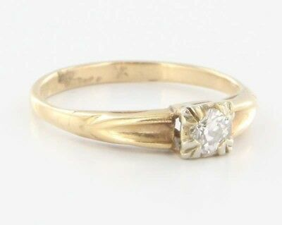 Vintage 14k Yellow Gold Diamond Engagement Ring Estate Fine Jewelry Bridal 6.25