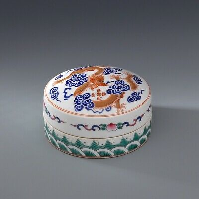 Qing daoguang mark China old Porcelain famille rose Hand painting dragon Box
