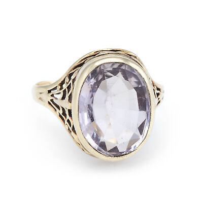 Vintage Amethyst Ring 14k Yellow Gold Cocktail Jewelry Oval Filigree Estate 9.75