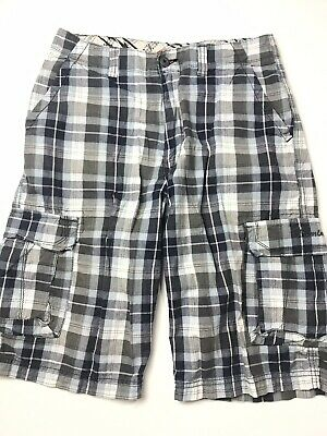 "7d68d4758 Union Bay Boys Teen Blue Gray Plaid Casual Cargo Shorts - Sz 16 29""W"