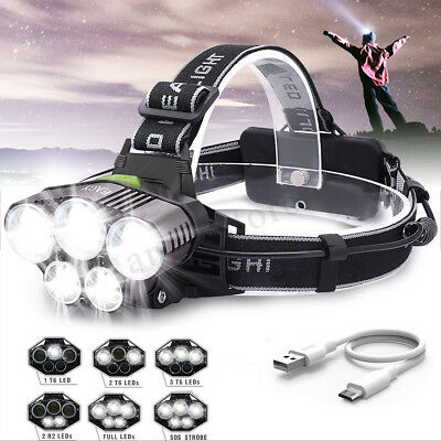 90000LM Rechargeable T6 5X LED Headlamp Headlight Torch Super-bright Flashlight