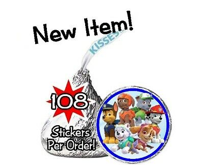 108 Paw Patrol Birthday Party Hershey Kisses Stickers Puppies Chase Skye Dogs