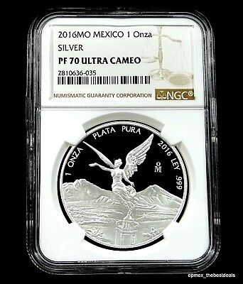 2016 Mexico Silver Proof Libertad 1 Onza Fine Silver Coin NGC PF-70 UCAM Perfect
