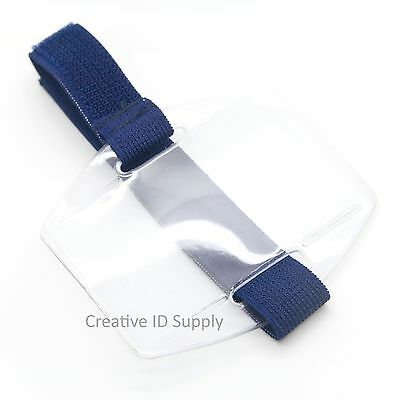 Armband ID Badge Holder Vertical with Elastic NAVY BLUE Strap - Pack of 25